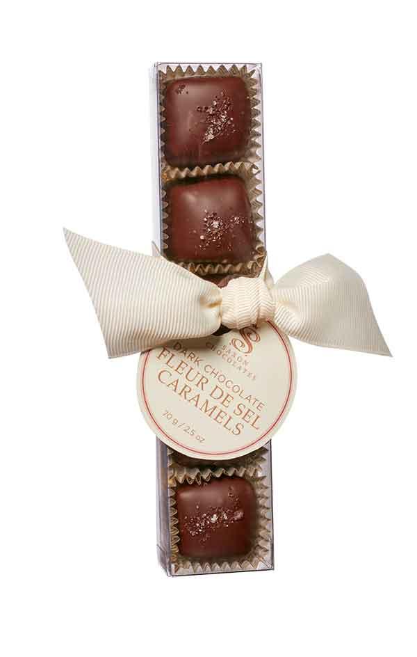 saxon chocolates dark chocolate fleur de sel caramels wholesale