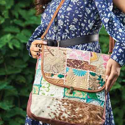bhrayna bags handmade leather and up-cycled eco-friendly canvas bags at Penny Harrison and Company