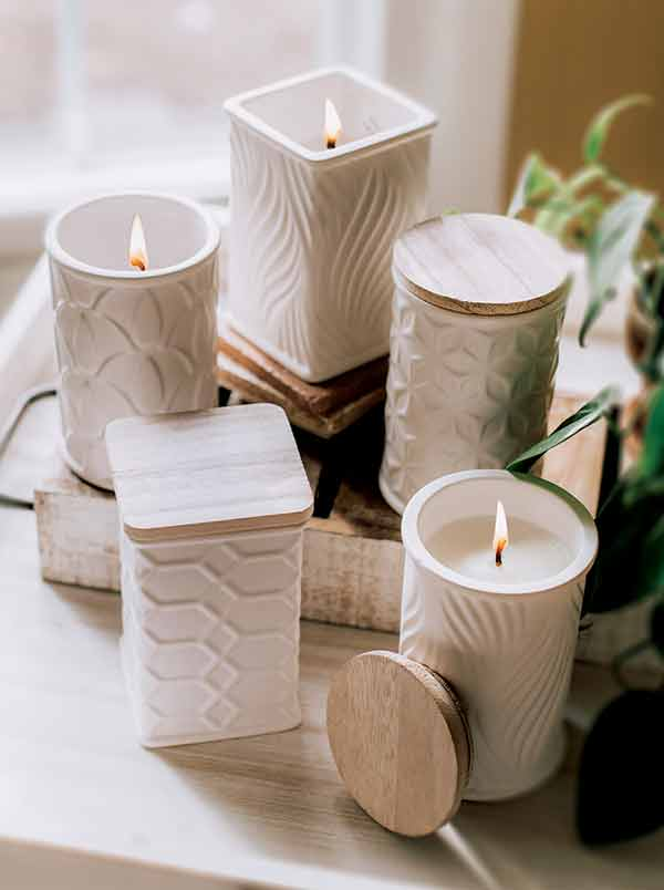swan creek candle company white pottery canisters