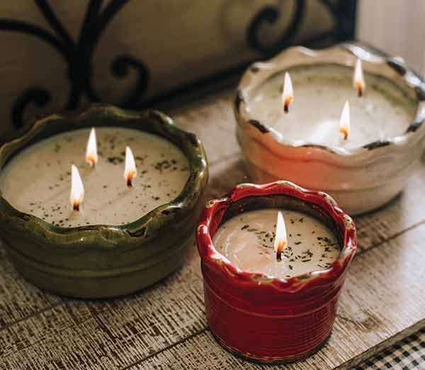 swan creek candle company ruffled pottery soy candles